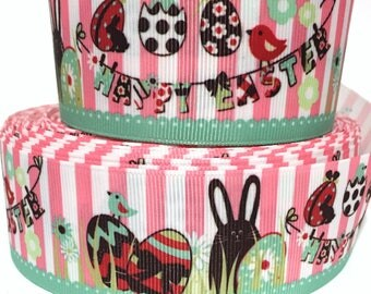 "Grosgrain Ribbon 7/8"" & 1.5"" Happy Easter Bunny Rabbit - Birds -  Eggs - Pink Stripes - V71 Printed Sold by the yard- USA SELLER"