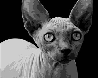 Sphynx, Cat, Layered Papercut Template, Papercut Portrait, Pet Portrait, Feline, Papercutting Template, Commercial Use, Personal Use