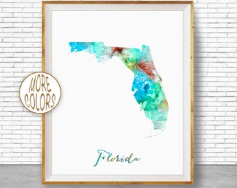 Florida State Florida Decor Florida Print Florida Map Art Print Map Artwork Map Print Map Poster Watercolor Map ArtPrintZone Christmas Gifts