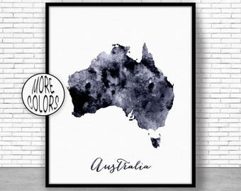 Australia Print Australia Art Print Home Decor Australia Map Art Wall Prints Wall Art Home Wall Decor Watercolor Painting ArtPrintZone