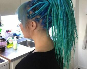 Mermaid set.  Turquoise/BluGreen colorful set of DE dreads. Long. Classic