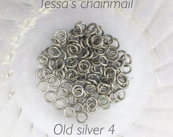 """18g 5/32 """" chainmaille jump rings, aluminum rings, DIY, old silver rings, chainmaille supplies, silver jump rings, Tessa's chainmail"""