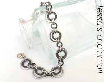 Black bracelet, black jewelry , black chainmaille, black ice jewelry, chainmaille bracelet, black necklace, black ice, Tessa's chainmail