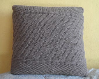 Taupe wool furniture cushion