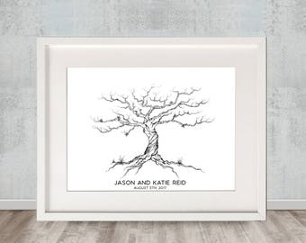 Twisted Olive/ Thumbprint Guest Book / Wedding / Event Keepsake / Wedding Tree
