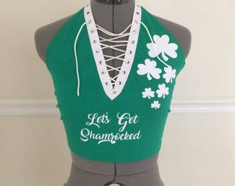St. Patty's Lace up halter T-shirt