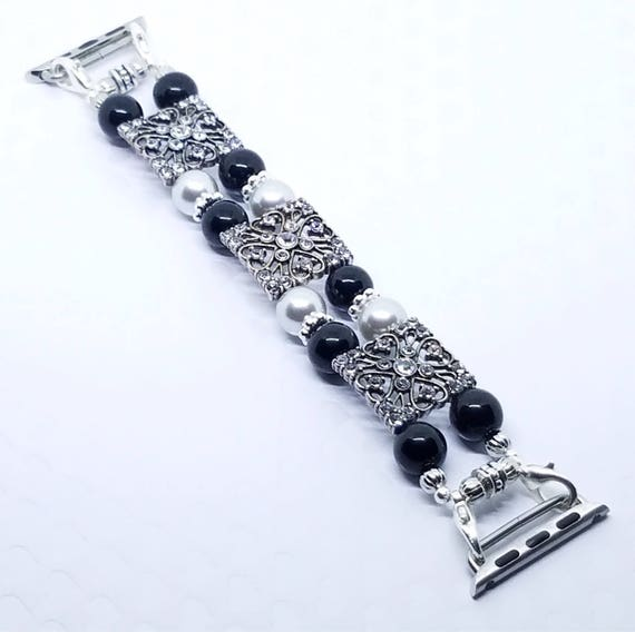 "Apple Watch Band, Women Bead Bracelet Watch Band, iWatch Strap, Apple Watch 38mm, Apple Watch 42mm, Silver, Black Size 7 1/4"" - 7 1/2"""