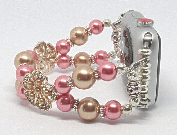 Rose Gold & Pink Pearl Size 6 3/4 - 7 Apple Watch Band, Women Bead Bracelet Watch Band, iWatch Strap, Apple Watch 38mm, 42mm