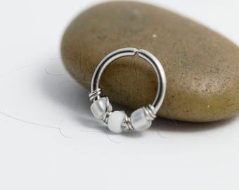 16G 18G 20G Ice Snowflake Nose Hoop Ring or Cartilage Earring