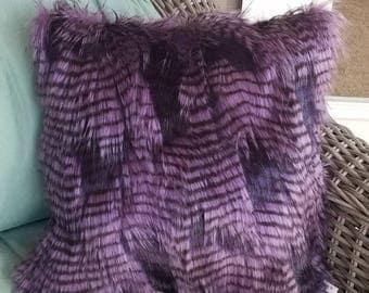 Purple faux fur pillow cover
