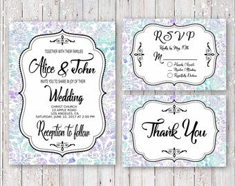 Funky Elegance Wedding Invitation Set