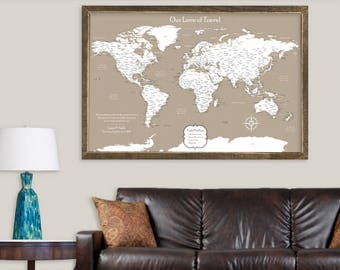 Push pin maps personalized pillows and unique gifts by cottonnink push pin map canvas travel map pin unique world map wall art personalized gifts for travelers gumiabroncs Gallery