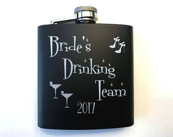 Bridesmaid Gift - Bachelorette  Party Flasks for Women - Bridal Party Gifts - Bride's Drinking Team Flasks - Bridesmaid Gift