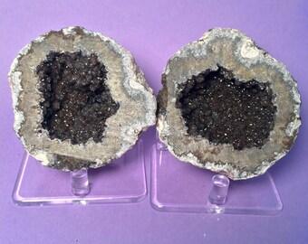 Whole Druzy Smoky Quartz Geode, Unpolished, Goethite, Calcite, Geode, Gemstone