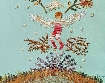 Winged Boy Enlightening Inner Holy Spirit Embroidered Wall Hanging Art, MENINO ALADO, Limited Edition Giclee Wall Art, Fine Art Wall Hanging