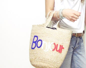 Swaraj Bag HELLO & LOGO tote bag - BONJOUR jute hemp beaded embroidered bag
