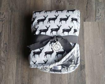 Baby boy blanket/boy buck blanket/stag minky blanket/Stroller blanket/black and white blanket/Boy deer blanket/boy flannel and minky blanket