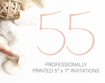 55 Professionally Printed Invitations White Envelopes Included And Free US Shipping, Printed Invitations