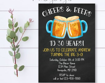 Cheers And Beers Invitation, Beer Invitation, 30th Birthday Invitation, Beer Invite, Beer Birthday, Beer Party Invite