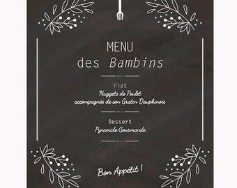 Menu style ARDOISE personnalisable // Modèle de menu pour mariage chic et champêtre disponible en version pdf ou à me faire imprimer