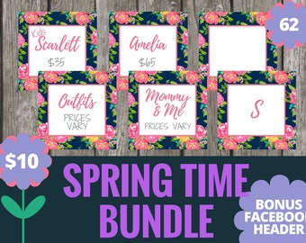 Facebook Album Covers - Summer Floral - 62 Graphics - Navy Floral and Pink