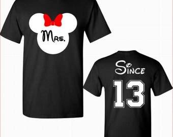 "Women's ""Mrs. Anniversary"" Disney Shirt Women's Disney Shirts Matching Shirts Disney Shirts Minnie Mouse custom personalized wedding gift"