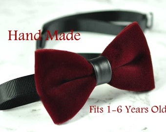 Baby Infant Kids Boy Solid Burgundy Wine Dark Red Velvet Black Faux Leather Bowtie Bow Tie 1 to 6 Years Old Wedding Party