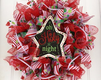 Deco Mesh Christmas Wreath, Oh Holy Night Wreath, Red and Green Christmas Wreath