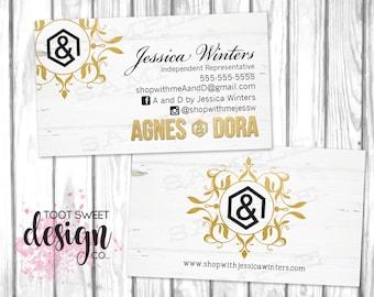 Agnes and Dora Business Cards, Custom Agnes & Dora Business Card, Elegant Gold / White Wood, Personalized Marketing, Branding, PRINTABLE