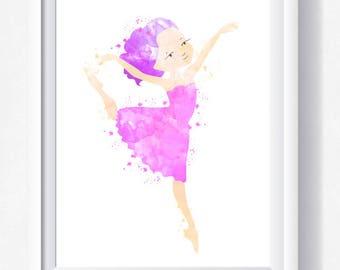 Ballet dancer printable Ballet print Ballerina watercolor toddler wall art, nursery printable, instant download, Ballet girl printable