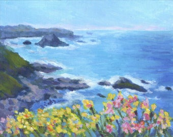 BIG SUR SEASCAPE in Original 8 x 10 inch Acrylic Painting by Sharon Weiss