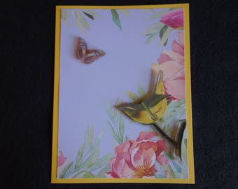 Female Birthday Card Bird and Butterfly