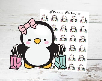 Penguin Planner Stickers // Shopping Spree // Girls Day