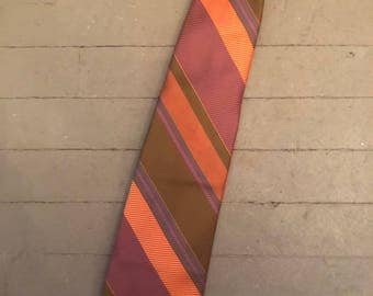 Orange and Pink Striped Silk Necktie by Simpson's