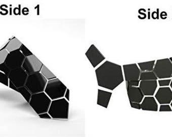 Dual side Matte-Gloss Dapper Hex Black Style Tie - Honeycomb Style ( Suit Accessories - NeckTie, Modern futuristic Hex Neck tie Style)