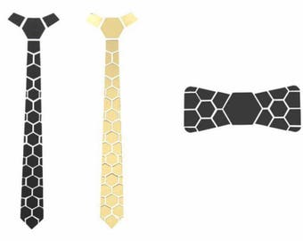 Combo Gift Gold-Black dual side Hex Style Tie with black bow- Honeycomb  ( Suit Accessories - NeckTie, Hex Neck tie Style)