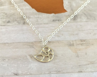 Dainty Sterling Silver Shell Necklace- Beach Jewellery - Gift - Bridesmaid - Friend - Sister - S012
