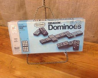 Vintage Wooden Dragon Double Nine Dominoes