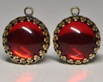 Garnet Glass Pendant Charm Brass Crown Setting & Transparent Foil Back Cabochon 1 Piece HA4