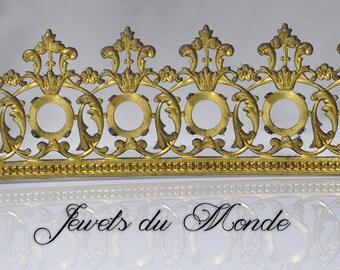 Vintage French Ormolu Filigree Crown Finding Cutout Openwork Lamp Banding 1 Foot 522J