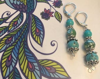 Turquoise silver dangles