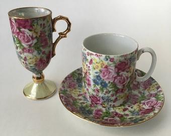Vintage English Floral Tea Cup, Saucer, and Milk Dish Set