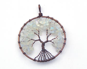 Opalite Tree of Life Pendant, Wire Wrapped Pendant, Wire Wrapped Opalite, Tree of Life Necklace, Wire Wrapped Tree of Life Pendant, Opalite