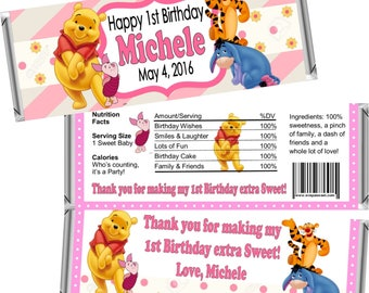 Digital Printable ~ ANY AGE ~ Winnie the Pooh ~ Birthday Candy Bar Wrappers ~ Digital Printable!
