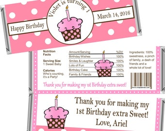 Digital Printable ~ ANY AGE ~ Pink Cupcake ~ Birthday Candy Bar Wrappers ~ Digital Printable!