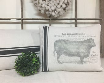Farmhouse Pillow with French Bull and Grain Sack inspired striping, Modern Farmhouse Pillows, Canvas Pillows, Grain Sack Pillow Cover