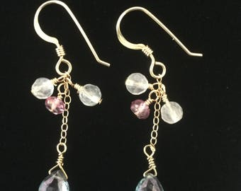 Mystic Blue Topaz Earrings,Gemstone Earrings,14K Gold Filled