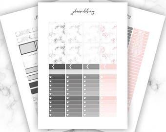 MARBLE Weekly Kit // Printable Planner Stickers / Erin Condren Plum Paper Happy Planner Kikki K Marble Pink Grey Spring Minimalist Black