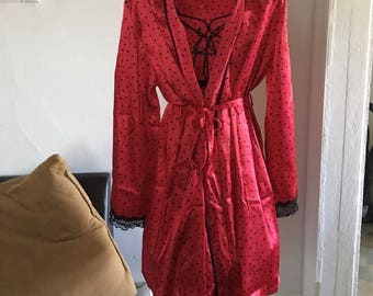 1970s Cherry Red polkadot California Dynasty Robe