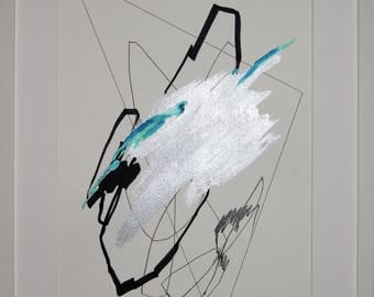 Original abstract illustration, 0626, mixed media on paper, 2017